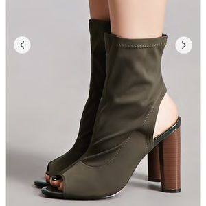 Forever 21 Shoes - Peep Toe Sock Ankle Boot